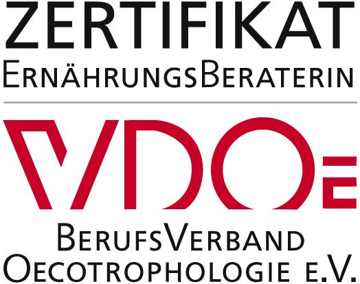 """Zertifikat """"Ernährungsberaterinnen"""" des Berufsverbandes Oecotrophologie (VDO) e. V."""